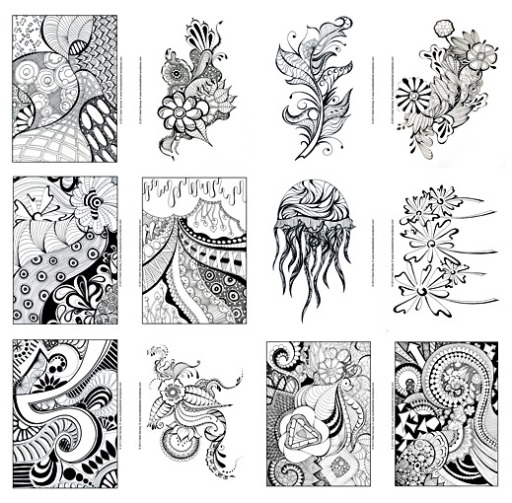 Doodle art coloring book for adults sharpie art